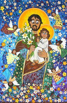 São José e o menino Jesus . Andreza Katsani Jesus Loves Me, Jesus Christ, Lord, Kids Rugs, Painting, My Love, Home Decor, Religious Art, Toddler Girls