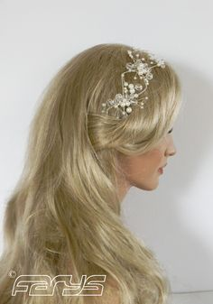 Headband in the color Silver, Ivory and Crystal Handmade Hair Accessories, Art wear and more .