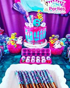 Hatchimal Hatchy Birthday Dessert Table Desserts Chocolate Pretzels By Sparkling Sugar Cake Pastel Du Ciel Hatchimals Hatchimalbirthday
