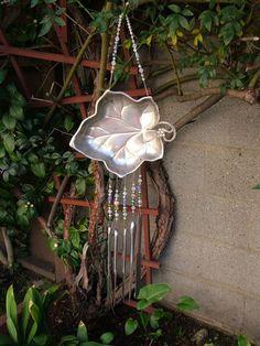 Vintage RePurposed Silver Plate Leaf Wind Chime by WindChimeGirl, $35.00  http://www.etsy.com/listing/87514804/vintage-repurposed-silver-plate-leaf
