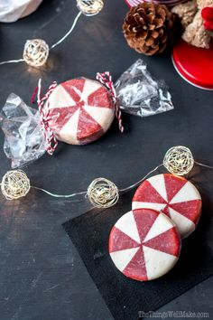 This fun holiday peppermint soap looks like peppermint candy and it's perfect for Christmas time, but can also be enjoyed year round.