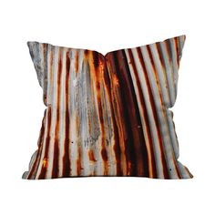 Add a handsome touch of hardwearing style to your living room or den with this chic pillow cover. Featuring a stunning rendering of a weathered and wonderfully linear metal piece, this Rusty Pillow Cov...  Find the Rusty Throw Pillow Cover, as seen in the The Foundry Collection at http://dotandbo.com/collections/the-foundry?utm_source=pinterest&utm_medium=organic&db_sku=110628
