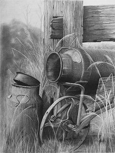 Pencil Art old cream cans Graphite Drawings, Pencil Drawings, Art Drawings, Pencil Shading, Graphite Art, Horse Drawings, Animal Drawings, Charcoal Art, Cowboy Art