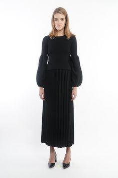 Black Wool Mix Maxi Skirt