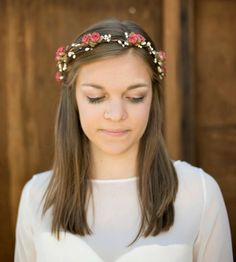 Bohemian Pink Paper Flower Crown by Roses and Lemons on Scoutmob. They may not be real flowers but it's super cute.