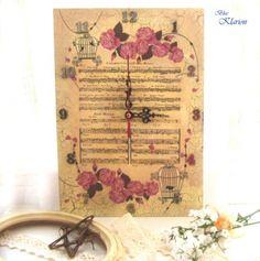 Vintage kottás, rózsás, kalitkás falióra (blueklarion) - Meska.hu Decoupage, Vintage World Maps, Marriage