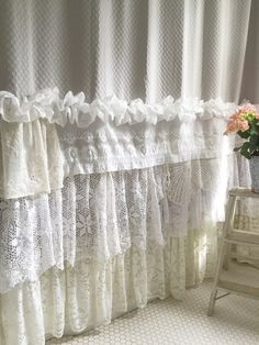Shabby Cottage Chic Shower Curtain Grey Lace Ruffle Girls Bohemian Bathroom Gift for Her Más Shabby Chic Shower Curtain, Ruffle Shower Curtains, Shabby Chic Curtains, Floral Curtains, Shabby Chic Bedrooms, Shabby Chic Furniture, Navy Curtains, Brown Curtains, Ikea Curtains