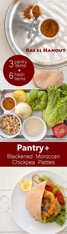 Pantry+ Recipe from Zsu's #Vegan Pantry. Blackened Moroccan #Chickpea Patties. #vegetarian #meatless