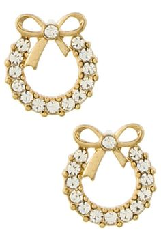 Rounded Rhinestone with Ribbon Earring