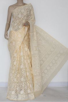 Fawn Allover Hand Embroidered Lucknowi Chikankari Saree (With Blouse - Cotton) 14535