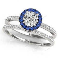 White Gold Plated 925 Silver Halo Style Blue Sapphire & Diamond Brial Ring Set  #aonedesigns