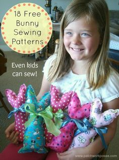 This little bunny is ready for Easter! Hop Hop. Super quick and easy to sew– great for beginners! Great for using up larger pieces of scrap...