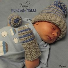 Free pattern for crochet baby scratch mitts. The free crochet pattern works up quick and is great for preventing babies from scratching their adorable face.