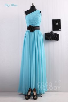 Hot Selling Sheath-Column One Shoulder Sky Blue Chiffon Bridesmaids Dress COSF14001 #cocomelody #dresses