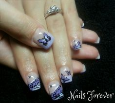 Gel Nails 2014 - Purple African Butterfly Nails