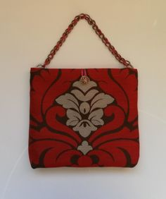 Reduced! Very elegant, red, brown, silvery grey, handbag with chain strap. £14.00