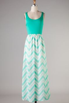 Boardwalk Rendezvous Sleeveless Solid and Chevron Print Block Maxi Dress in Sea Foam