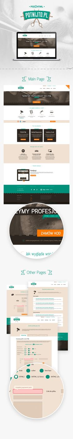 Potnijto.pl / Ideative Agencja Kreatywna / #green #brown #scissors #html5 #psd2html Main Page, Portfolio Web Design, Scissors, Brown, Bicycle Kick, Chocolates, Brow