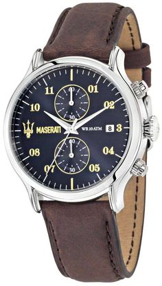 Maserati Epoca Chronograph Navy Blue Dial and Brown Leather Strap Men's Watch Amazing Watches, Cool Watches, Watches For Men, Wrist Watches, Men's Watches, Trident Logo, Bracelet Cuir, Dark Brown Leather, Stainless Steel Case