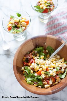 Yum! Try this great Fresh Corn Salad with Bacon: http://www.bhg.com/blogs/delish-dish/2014/07/25/fresh-corn-salad-with-bacon/?socsrc=bhgpin080314freshcornsaladwithbacon