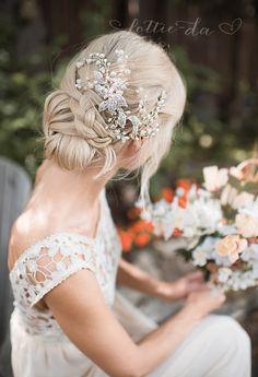 Long Wedding Updo Hairstyle with Boho Silver Flower Leaf Hair Vine Wedding Headpiece / http://www.deerpearlflowers.com/wedding-hairstyles-and-bridal-wedding-accessories/2/