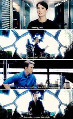 Tony Stark clarifies his and Steve Rogers relative positions in the Avengers.