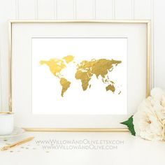 Gold world map art print poster world map print faux gold art world map faux gold foil art print minimalist art sciox Image collections