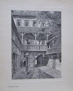WEIMAR KIRMS-KRACKOW-HAUS alter Druck Antique Print Federzeichnung