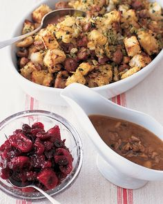 Cranberry Sauce with Dried Figs | Martha Stewart Living - This cranberry sauce with dried Calimyrna figs has a chutney-like texture. A little red wine makes the sauce rich in flavor and ruby red in color.