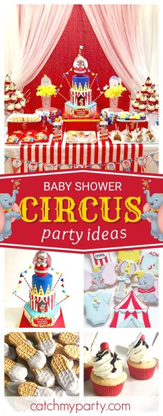 Don't miss this awesome Dumbo Big Circus Baby Shower! The tiered decorated cake is amazing!! See more party ideas and share yours at CatchMyParty.com