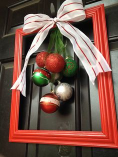 DIY Christmas wreath using picture frame and ornaments