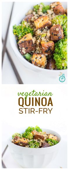 This healthy and delicious QUINOA STIR-FRY is a staple in our weeknight meal planning - it's easy, flavorful, #vegan and #glutenfree!