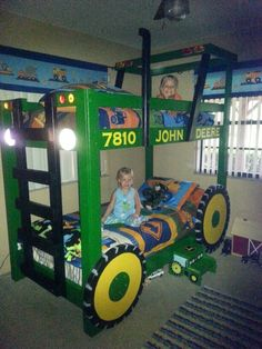Tractor bunk bed plans found online...Jarrett says Thanks Papa!!!