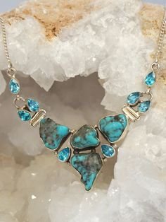 Turquoise Soul  . . .   Artisan Turquoise and Faceted Blue Topaz Necklace