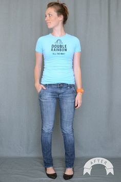 Because we all know just how much I love fixing old jeans... Turn you wide leg jeans into skinny jeans!