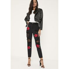 Missguided Riot Embroidered Rose Ripped Mom Jeans ($60) ❤ liked on Polyvore featuring jeans, black, destroyed jeans, destruction jeans, distressed jeans, embroidered jeans and destructed jeans