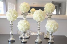 "Set of 6 Luxury Elegant 8"" Wedding ivory hanging foam flower balls wedding pomanders kissing balls, WEDDING CENTERPIECE, flower girl by KimeeKouture on Etsy https://www.etsy.com/listing/201274660/set-of-6-luxury-elegant-8-wedding-ivory White Centerpiece, Candlestick Centerpiece, Flower Ball Centerpiece, Candlesticks, Elegant Wedding, Wedding White, Our Wedding, Wedding Table, Wedding Ceremony"