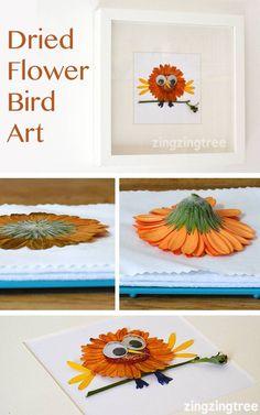 Dried Flower Bird Craft - Germini Flower