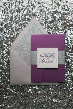 LAUREN Suite Glitter Pocket Folder Package, silver and purple, silver glitter, pocket folder wedding invitations, letterpress