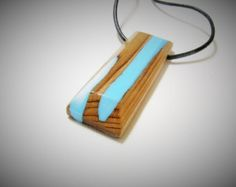 Large geometric translucent red resin and maple wood mountain necklace. Made from repurposed maple wood and uber eco friendly Ecopxy resin. Choose