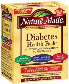 SAVE UP TO $17 -- Amazon's Trusted and Best Selling Diabetic Supplies -- Nature Made Diabetes Health Pack with Lutein, Multivitamin and Minerals, 30 Packets (Pack of 2) - The Nature Made Diabetes Health Pack is scientifically formulated to provide nutritional support for people with diabetes. Each packet includes a complete, full-potency formulation of vitamins, minerals, and alpha lipoic acid.  http://diabeticshoessuppliesfootcare.com/best-selling-diabetic-supplies#NatureMade