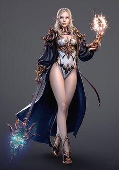 by George Panfilov Chica Fantasy, Elves Fantasy, Fantasy Warrior, Fantasy Women, Dark Fantasy Art, Fantasy Girl, Fantasy Artwork, Female Elf, Female Armor