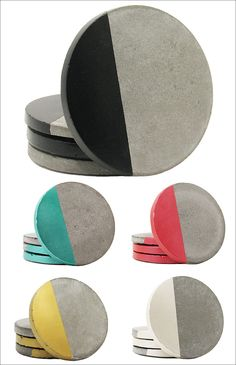 These modern, round coasters feature either a pop of color or a touch of metallic on the surface of the concrete coaster.
