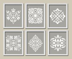 ★GRAY Bedroom Wall Art Bathroom Artwork DAMASK Set of 6 Prints White Ornament Design Pattern Decor French Country  ★Includes 6 unframed prints ★FRAMES