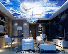 Blue Sky Moon 12 Star Signs Wallpaper Wall Decals Wall Art Print Business Kids Wall Paper Nursery Mural Home Decor Removable Wall Stickers Ceiling Decal Sky Ceiling, Ceiling Murals, 3d Wall Murals, Bedroom Ceiling, Ceiling Design, Living Room Bedroom, Wall Art, Wall Decals, Ceiling Paper