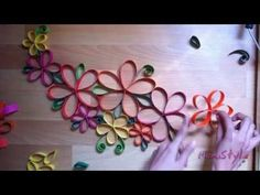 How To: Making Of Cute Wall Art Using Paper Rolls.. - YouTube