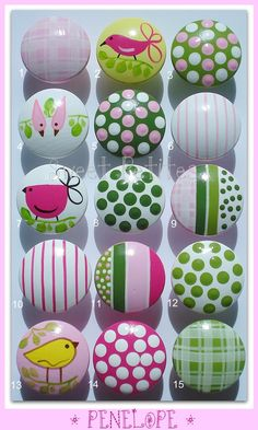 Hand Painted Knob Dresser Drawer Penelope Birds Stripes Polka Dots Gingham Emily could do this. I like the white knob with lime green dots Painted Drawers, Dresser Drawers, Rock Crafts, Arts And Crafts, Diy Crafts, Hand Painted Furniture, Kids Furniture, Drawer Knobs, Drawer Pulls