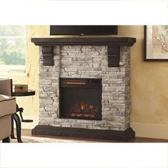 Home Decorators Collection Highland 40 in. Media Console with Faux Stone Electric Fireplace TV Stand in Rustic - The Home Depot Faux Stone Electric Fireplace, Corner Electric Fireplace, Electric Fireplace Tv Stand, Electric Fireplaces, Stone Mantel, Grey Fireplace, Simple Fireplace, Fireplace Ideas, Fireplace Hearth