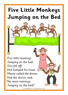 Five Little Monkeys Jumping on the Bed Song- Singing songs with preschool age children helps them learn language through repetition and having fun. Preschool Poems, Nursery Rhymes Preschool, Kindergarten Songs, Rhyming Activities, Kids Poems, Children Songs, Preschool Age, Songs For Toddlers, Rhymes For Kids