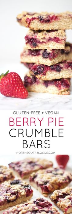 Get your mixed berry pie fix without all the fat and carbs. These gluten-free and vegan crumble bars will be you're go-to for breakfast or dessert! Made with frozen strawberries, blueberries, raspberries, & blackberries. Homemade, home cooked, baked, delicious, and wholesome and healthy! Nutritious | Nutrition | Kid-Friendly | Family Friendly | Holiday | Special Occasion | Mother's Day | Mixed Berry | Triple Berry | Pie | Crumb | Crumble | Natural | Organic | Fresh Fruit | Fibre | Protein…